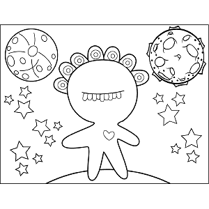 Eyes and Teeth Space Alien coloring page
