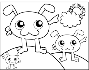 Floppy Eared Monsters coloring page