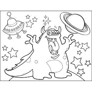 Four-Eyed Space Dragon coloring page