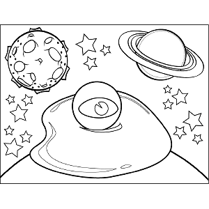 Fried Egg Space Alien coloring page