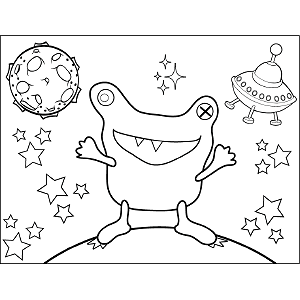 Frog Space Alien coloring page