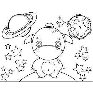 Frowning Space Alien coloring page