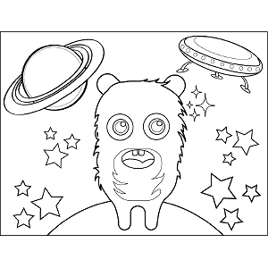 Fuzzy Space Alien coloring page