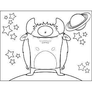 Grinning One-Eyed Space Monster coloring page