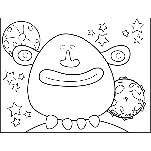 Grinning Space Alien coloring page