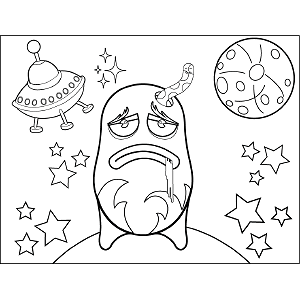 Grumpy Space Alien coloring page