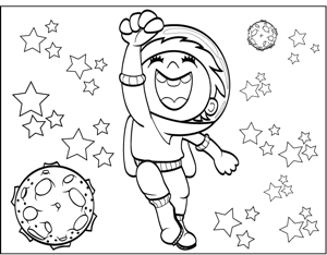 Happy Astronaut coloring page