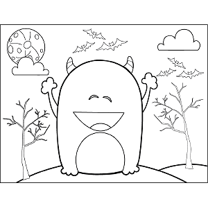 Happy Monster coloring page