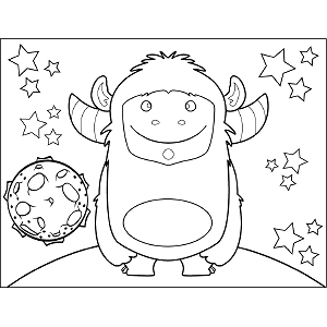 Horned Space Monster coloring page