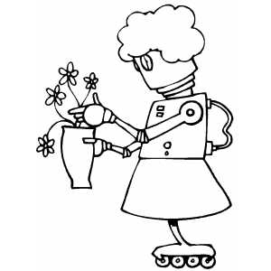 Maiden Robot Watching Flowers coloring page