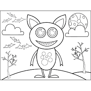 Monster Cat coloring page