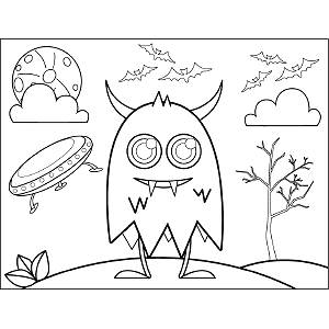 Monster Flying Saucer coloring page