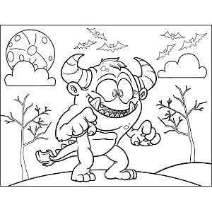 Monster Horns Tail coloring page