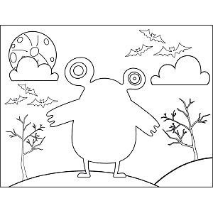 Monster No Mouth coloring page