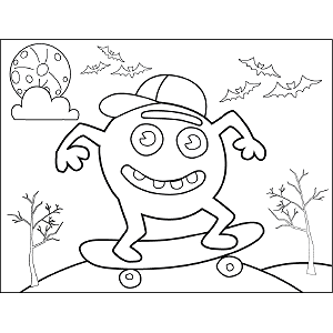 Monster on Skateboard coloring page