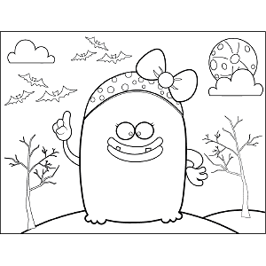 Monster with Bow coloring page