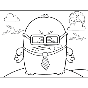 Monster with Glasses coloring page