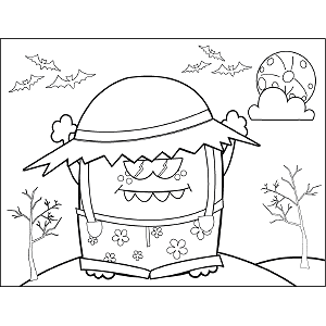 Monster with Hat coloring page