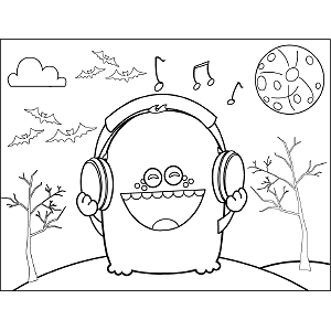 Monster with Headphones coloring page