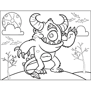 Monster with Horns coloring page