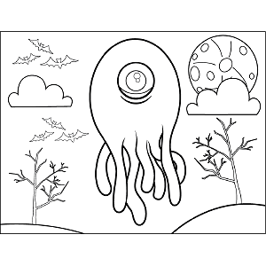 Monster with Tentacles coloring page
