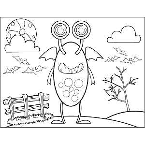 Monster with Wings coloring page