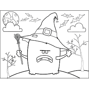 Monster with Witch Hat coloring page