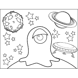 One-Eyed Space Alien coloring page