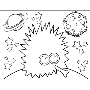 Prickly Space Alien coloring page