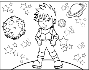Punk Rock Space Girl coloring page