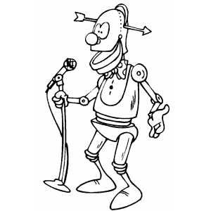 Robot Comedian coloring page