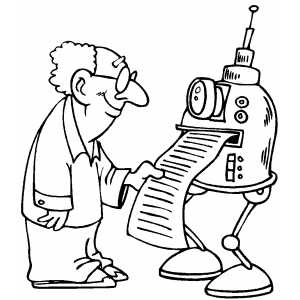 Robot Printing Note coloring page