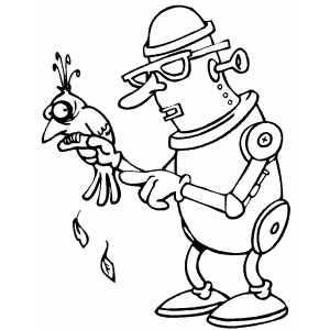 Robot With Bird coloring page