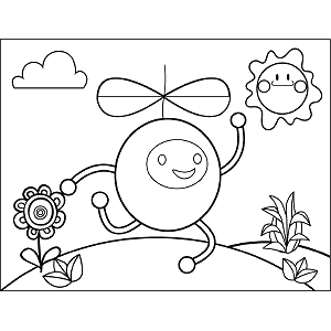 Round Guy with Propeller coloring page