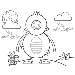 Single-Eyed Monster coloring page