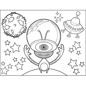Single-Eyed Space Alien Bubble coloring page