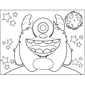 Single-Eyed Space Monster coloring page