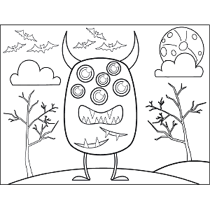 Six-Eyed Monster coloring page