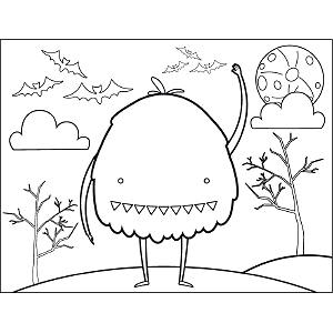 Small-Eyed Monster coloring page
