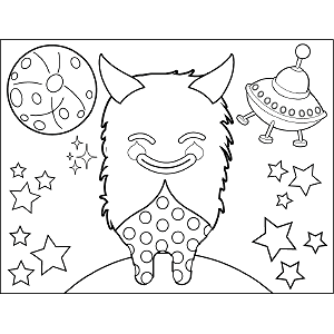 Smugly Smiling Space Alien coloring page