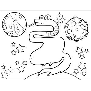 Snake Space Alien coloring page