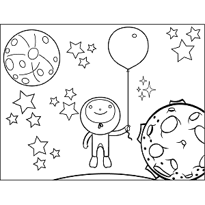 Space Alien Balloon coloring page