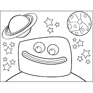 Space Alien Big Grin coloring page