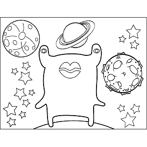 Space Alien Big Lips coloring page
