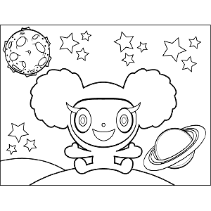Space Alien Curly Hair coloring page