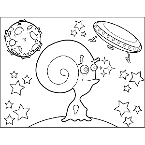 Space Alien Curly Horns coloring page