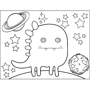 Space Alien Dragon coloring page