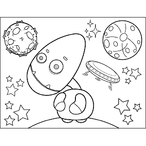 Space Alien Egg Head coloring page