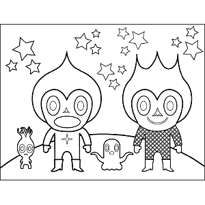 Space Alien Family coloring page
