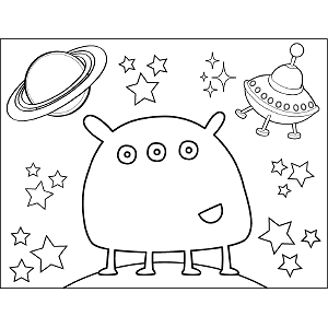Space Alien Four Legs coloring page